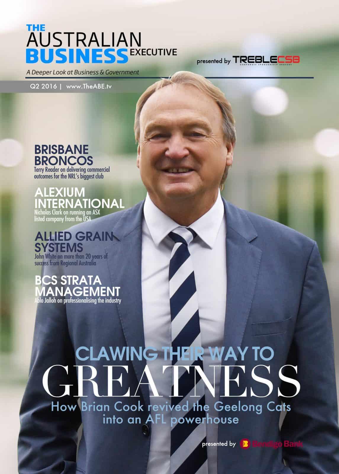 The Australian Business Executive Q2 2016 magazine publication - Brian Cook Geelong Cats