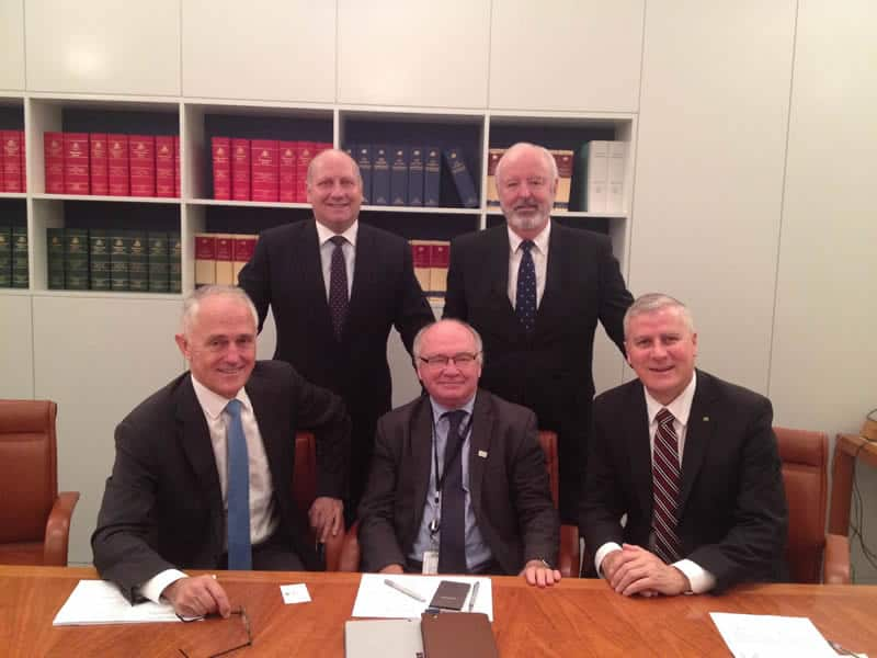 David Gandolfo (top left) seen here with the Prime Minister is also President of Commercial Asset Finance Brokers of Australia (CAFBA) and the Deputy Chair for the Council of Small Business